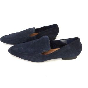 ZARA WOMAN Flat Suede Faux Suede Loafers Navy Size